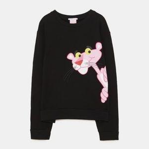 Zara Pink Panther Black Sweater